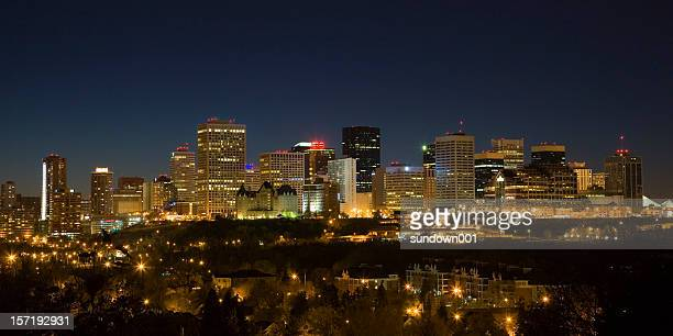 Wide-angle shot of Edmonton night skyline