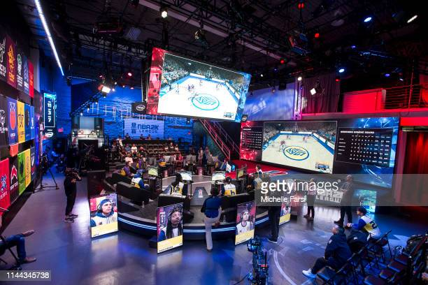A wideangle shot of the studio is seen during the game between Lakers Gaming and the Warriors Gaming Squad during Week 5 of the NBA 2K League regular...