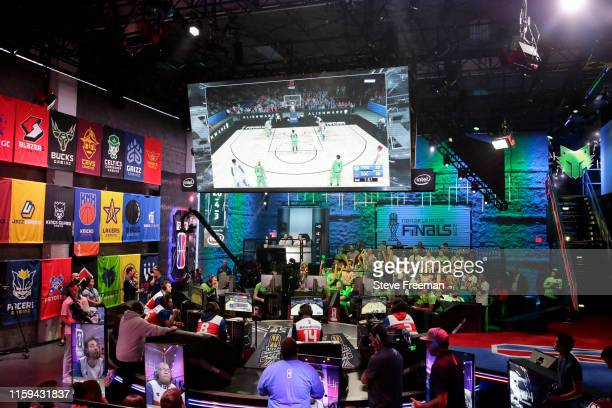 Wide-angle shot of the studio is seen during the game between T-Wolves Gaming and 76ers Gaming Club during Game Three of the NBA 2K League Finals on...