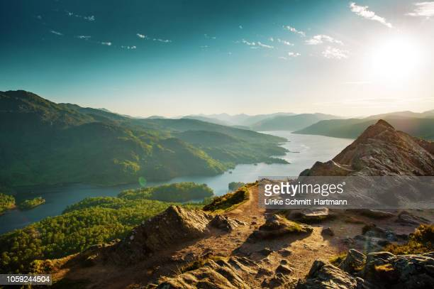 wideangle view from peak of ben a'an over loch katerine - horizontal stock pictures, royalty-free photos & images