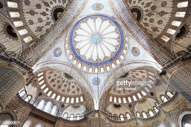 wideangle view of blue mosque ceiling - blue mosque stock pictures, royalty-free photos & images