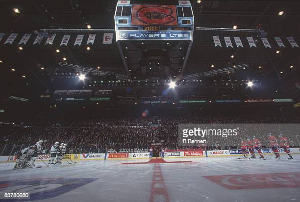 Wideangle view of the Dallas Stars and the Montreal Canadiens on the ice at the Montreal Forum Montreal Quebec Canada March 11 1996 The game which...
