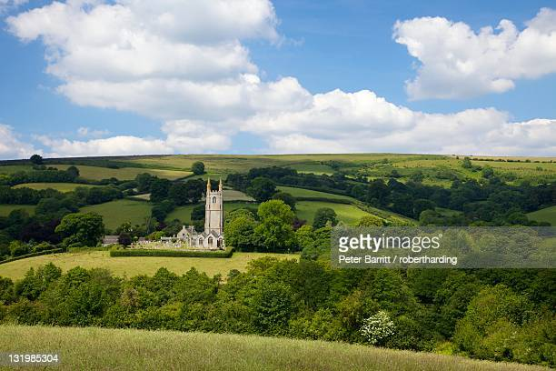 widecombe-in-the-moor in summer sunshine, dartmoor, devon, england, united kingdom, europe - devon stock pictures, royalty-free photos & images