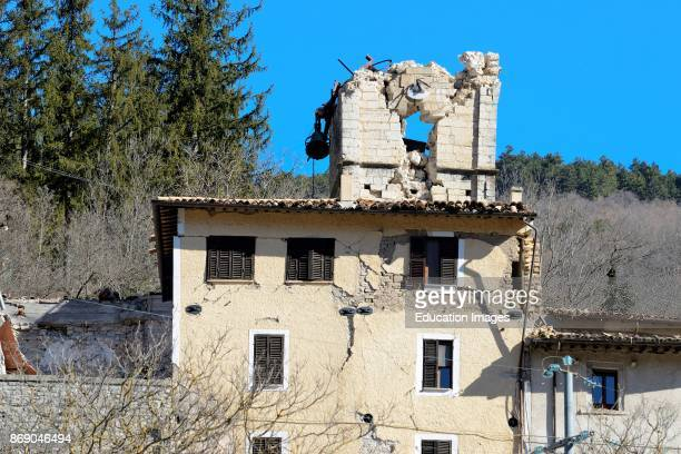 Widespread Collapses in the Center After The Earthquake Of 26 And 30 October 2016. Castelsantangelo Sul Nera. Marche. Italy.