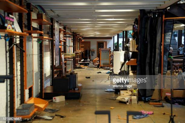 Widespread damage is seen in an outdoor clothing store after rioting and looting caused widespread damage on June 1 2020 in Santa Monica California...