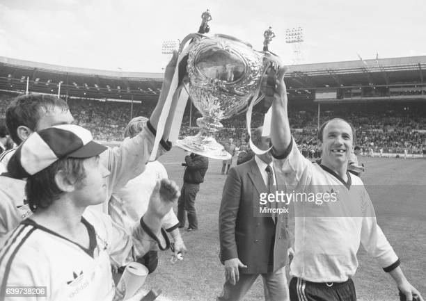 Widnes celebrate after their 18 - 9 victory over Hull Kingston Rovers in the Rugby League Cup Final at Wembley 2nd May 1981.