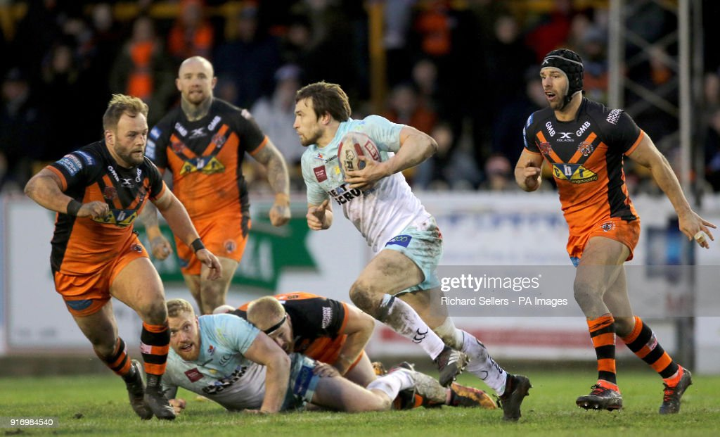 Widnes Vikings Joe Mellor makes a break during the Betfred Super League match at the Mend-A-Hose Jungle, Castleford.