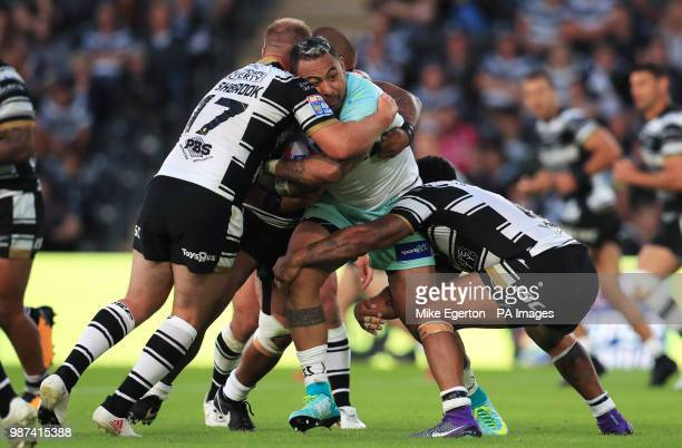 Widnes Vikings' Krisnan Inu is tackled by Hull FC's Danny Washbrook and Bureta Faraimo during the Betfred Super League match at the KCOM Stadium Hull