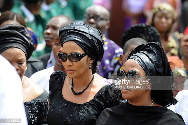 Widow Bianca Odumegwu Ojukwu arrives to attend the funeral service of her late husband and Nigeria's secessionist leader Odumegwu Ojukwu at St...