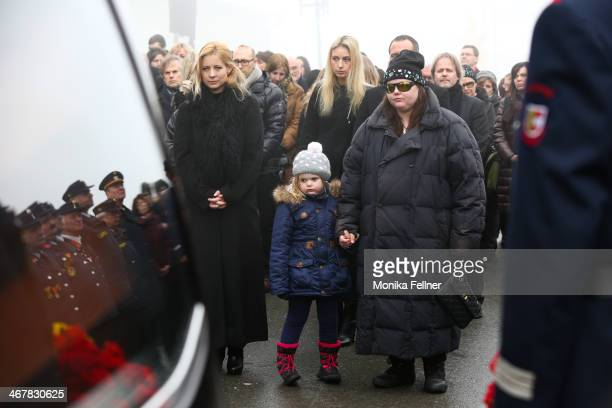 Widow Iva atends with daughter Nastassja ansd granddaughter Lea Magdalena the funeral service for actor Maximilian Schell at Pfarrkirche on February...