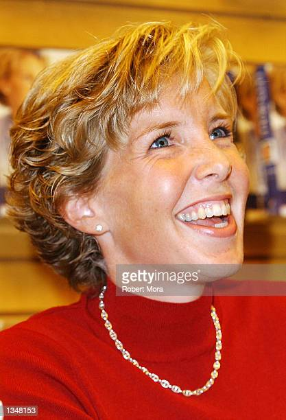 Widow Lisa Beamer signs copies of her new book Let's Roll Finding hope in the midst of crisis at Barnes Noble Westside Pavilion on August 21 2002 in...