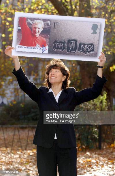 Widow of 1966 World Cup footballer Bobby Moore Stephanie Moore during the launch of Cancer Research UK's customised stamps the first to be issued by...