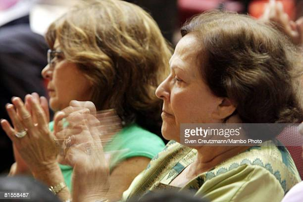 Widow of Ernesto Che Guevara Aleida March claps during a concert celebrating the 80th birthday of Che in the Karl Marx theatre June 13 Havana Cuba...