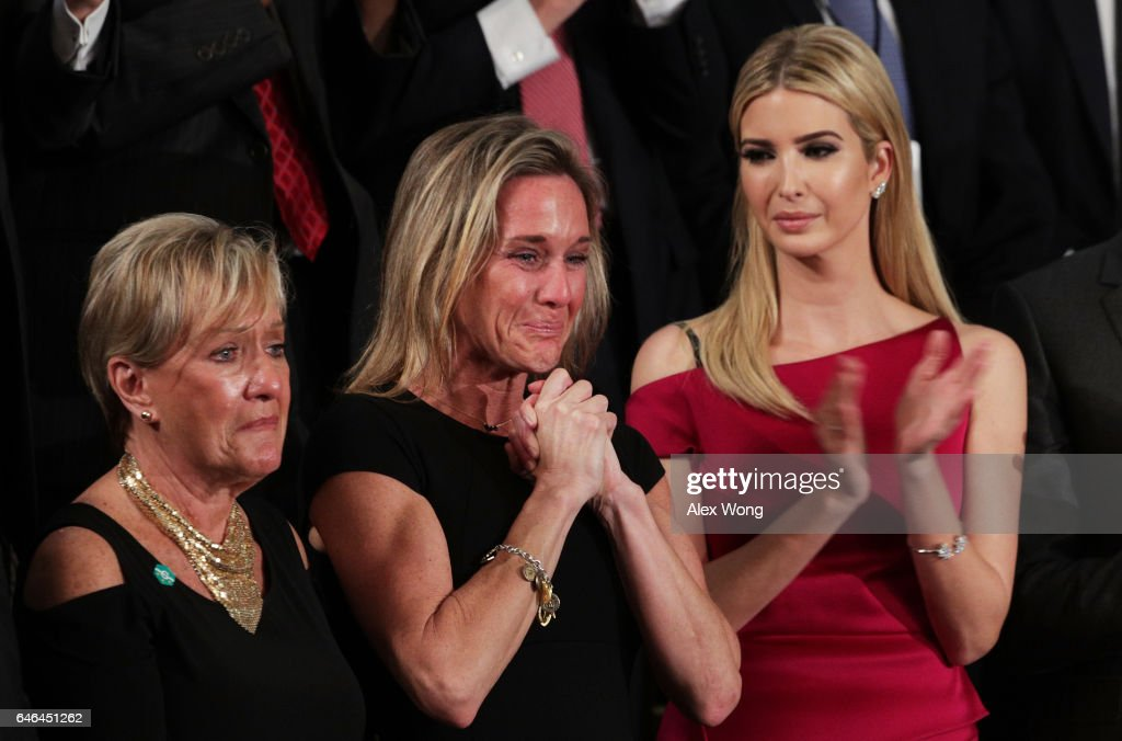 Widow of Fallen Navy Seal, Senior Chief William Owens, Carryn Owens and Ivanka Trump attend a joint session of the U.S. Congress with U.S. President Donald Trump on February 28, 2017 in the House chamber of the U.S. Capitol in Washington, DC. Trump's first address to Congress focused on national security, tax and regulatory reform, the economy, and healthcare.