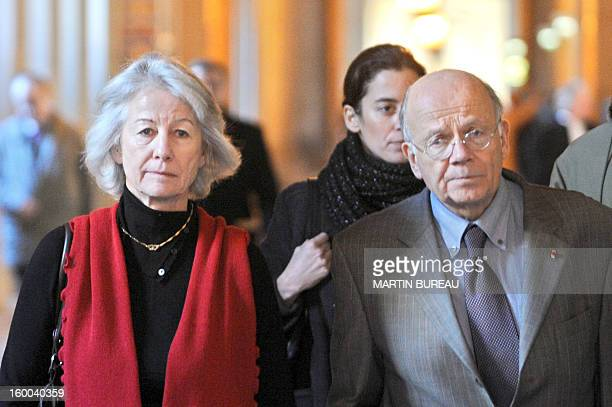 Widow of French prefect Claude Erignac Dominique arrives to the Paris Courthouse flanked by her lawyer Me Philippe Lemaire 12 December 2007 to attend...