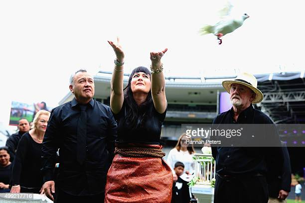 Widow of Jonah Lomu Nadene Lomu releases a dove at the Public Memorial for Jonah Lomu at Eden Park on November 30 2015 in Auckland New Zealand