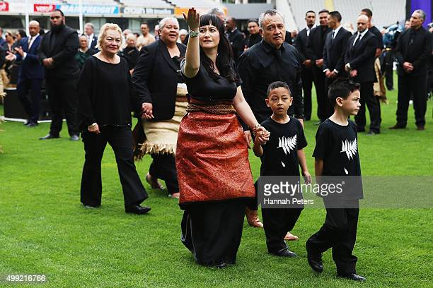 Widow of Jonah Lomu Nadene Lomu thanks the crowd with her two sons Brayley Lomu and Dhyreille Lomu her mother Lois Kuiek and father Mervyn Kuiek as...