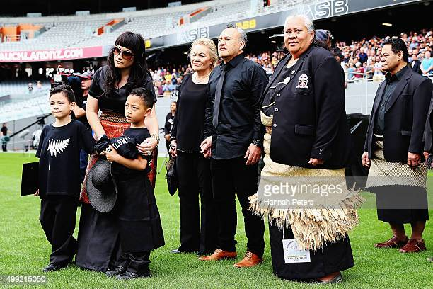 Widow of Jonah Lomu Nadene Lomu walks onto Eden Park with her two sons Brayley Lomu and Dhyreille Lomu her mother Lois father Mervyn Kuiek and mother...