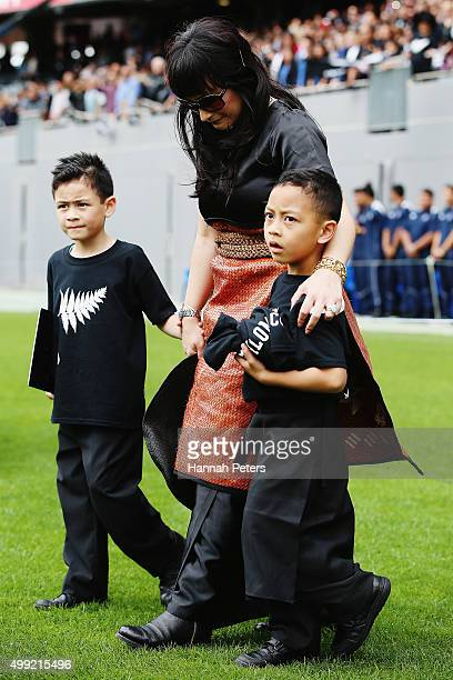 Widow of Jonah Lomu Nadene Lomu walks with her two sons Brayley Lomu and Dhyreille Lomu at the Public Memorial for Jonah Lomu at Eden Park on...