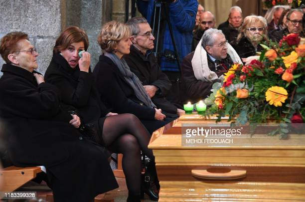 Widow of late cyclist Raymond Poulidor Gisele Poulidor and his daughter Corinne Poulidor attend the funerals of the French champion Raymond Poulidor...
