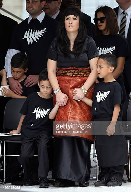 Widow of late New Zealand All Blacks rugby legend Jonah Lomu Nadene Lomu and her two sons Brayley and Dhyreille attend his memorial service at Eden...