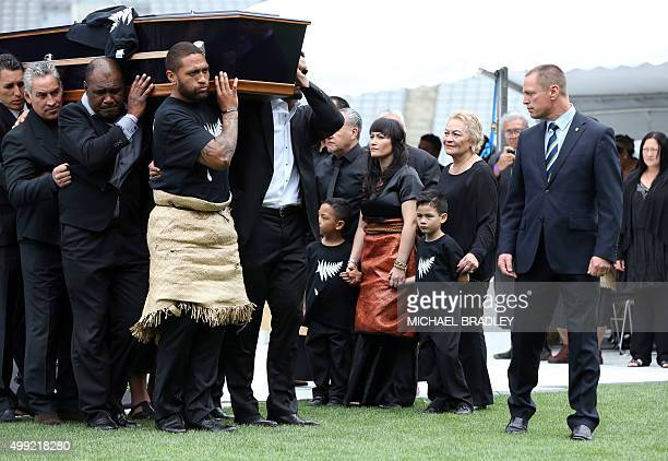 Widow of late New Zealand All Blacks rugby legend Jonah Lomu Nadene Lomu her two sons Brayley and Dhyreille and her mother Lois Kuiek and father...
