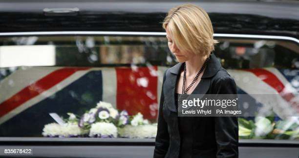 Widow of Major Sean Birchall of the 1st Battalion Welsh Guards Joanna Birchall in front of her husbands coffin outside the Guards Chapel London...