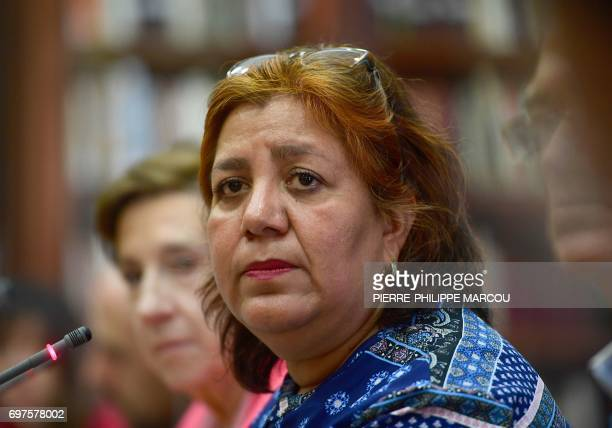 Widow of Mexican journalist Javier Valdez Griselda Triana listens to a question during a press conference in Madrid on June 19 2017 Valdez who was...