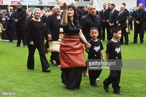Widow of New Zealand All Blacks rugby legend Jonah Lomu Nadene Lomu and their two sons Brayley and Dhyreille leave New Zealand's home of rugby Eden...