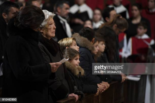Widow Raymonde Bocuse attends the funeral ceremony for French chef Paul Bocuse at the SaintJean Cathedral in Lyon on January 26 2018 More than 1500...