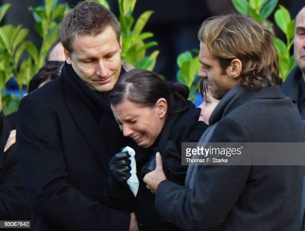 Widow Teresa Enke cries during the memorial service prior to Robert Enke's funeral at AWD Arena on November 15 2009 in Hanover Germany Tens of...