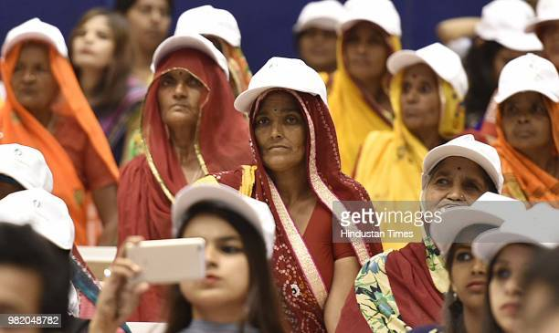 Widows from Rajasthan attend an event organised by the Loomba Foundation marking International Widows Day 2018 at Vigyan Bhawan on June 23 2018 in...