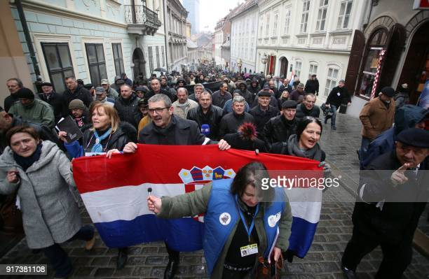 Widows of the soldiers of the Croatia's War of Independence and war veterans walk towards St Mark's Square in central Zagreb on February 12 2018...