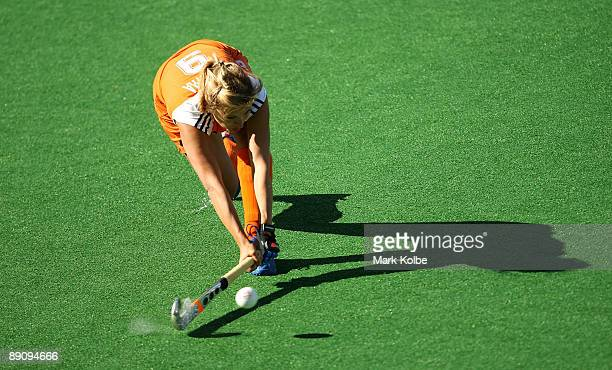 Wieke Dijkstra of the Netherlands drives the ball upfield during the Women's Hockey Champions Trophy bronze medal match between Germany and the...