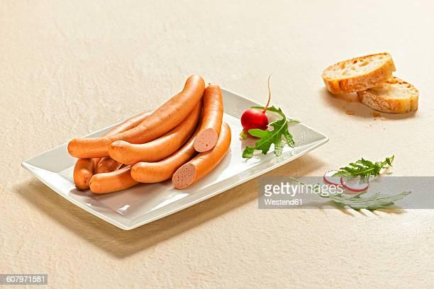 Wiener sausages on plate