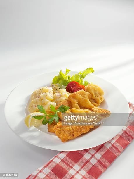 Wiener Schnitzel (veal escalope) with potato salad