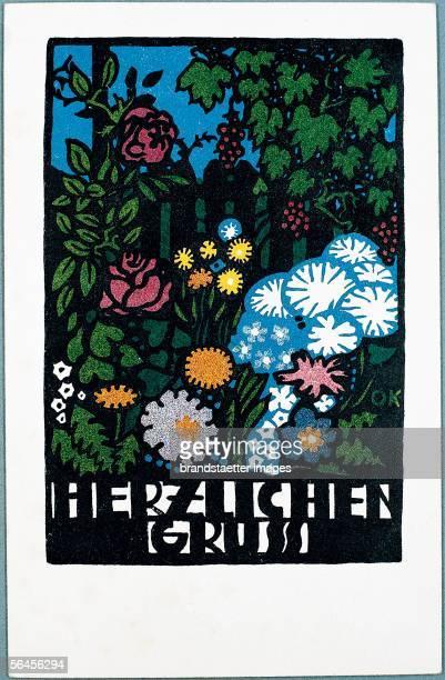 Wiener Werkstaette post card with flowers about 1907 [Blumen Wunschkarte Wiener WerkstaettePostkarte No 64 Um 1907]