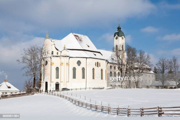 Wieskirche near Steingaden at the romantic road in Bavaria near the alps The Wieskirche is part of UNESCO world heritage Europe Central Europe...