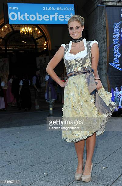 Wiesn Playmate 2012 Kathrin Goeppert attends the Angermaier WiesnFashion Show at the Loewenbraeukeller on September 8 2012 in Munich Germany