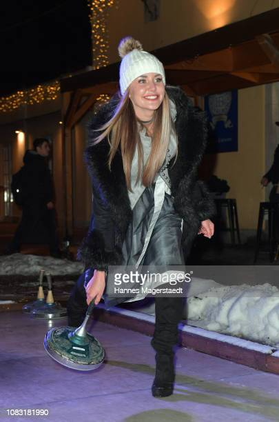 Wiesn Playmate 2018 Julia Prokopy attends the Angermaier 'Eisstock WM' at Park Cafe on January 15 2019 in Munich Germany