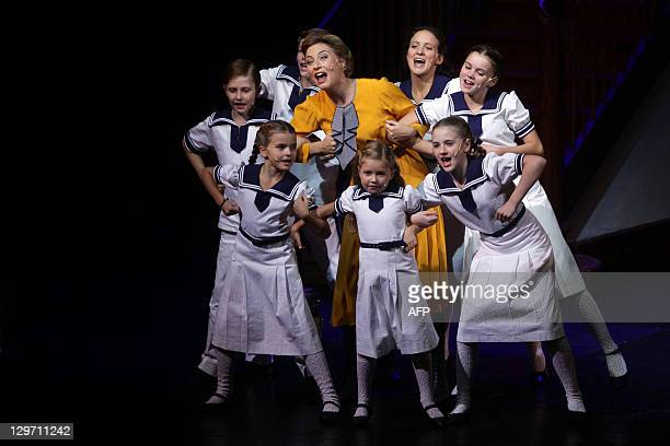 Wietske van Tongeren portraying Governess Maria Rainer performs with the children during a rehearsal of The Sound of Music musical in Salzburg...