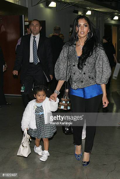 Wife and daughter of Kobe Bryant of the Los Angeles Lakers Vanessa Bryant and Gianna Bryant attend Game Three of the 2008 NBA Finals between the...