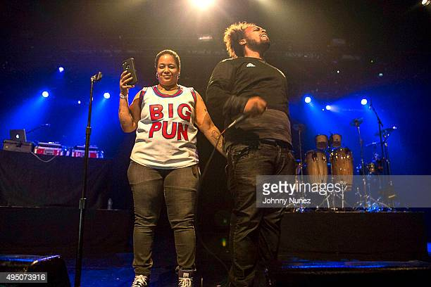 Wife and son of deceased rapper Big Pun Liza Rios and Chris Rivers speak onstage at PlayStation Theater on October 30 2015 in New York City