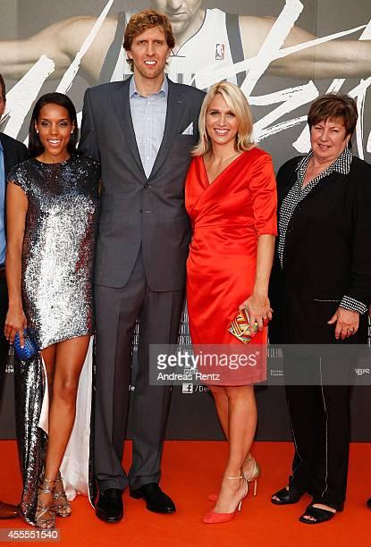 Wife Jessica Nowitzki with Dirk Nowitzki sister Silke Nowitzki and mother Helga Nowitzki attend the premiere of the film 'Nowitzki Der Perfekte Wurf'...