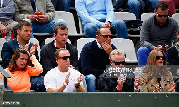 Wife Kim Murray and coach Amelie Mauresmo , and Physio Mark Bender watch Andy Murray of Great Britain in his Men's Singles match against Jeremy...
