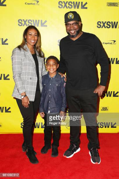 Wife Kristin Campbell son Blake Campbell and founder of the Warriors Football program Luther Campbell attend the Starz panel for 'Warriors of Liberty...
