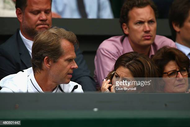Wife Mirka Federer and coach Stefan Edberg attend day thirteen of the Wimbledon Lawn Tennis Championships at the All England Lawn Tennis and Croquet...