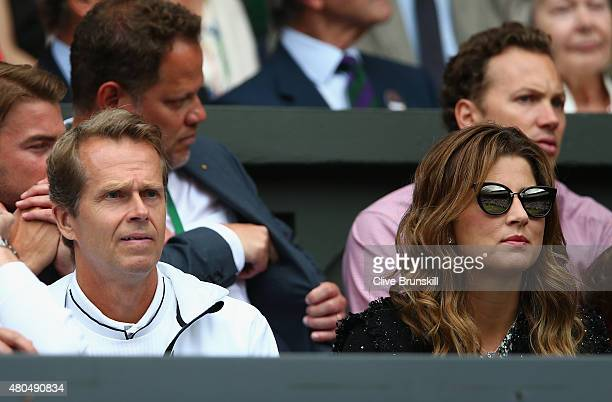 Wife Mirka Federer coach Stefan Edberg attend day thirteen of the Wimbledon Lawn Tennis Championships at the All England Lawn Tennis and Croquet Club...