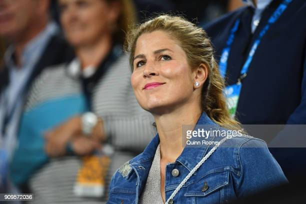 Wife Mirka Federer reacts in the player's box as Roger Federer of Switzerland wins his quarterfinal match against Tomas Berdych of the Czech Republic...