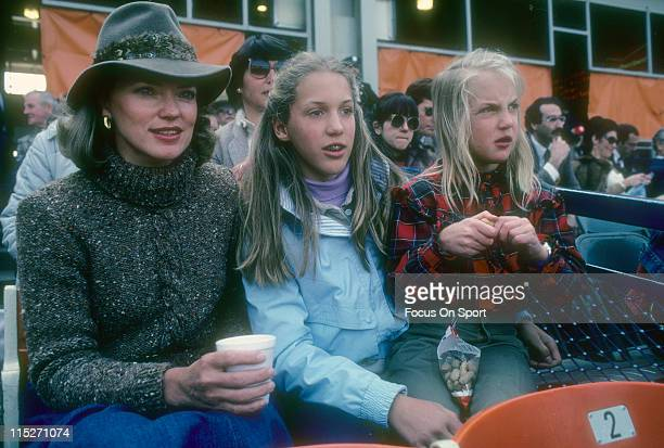 Wife Nancy Seaver and daughters Sarah and Anne Elizabeth Seaver of Cincinnati Reds pitcher Tom Seaver watching the Reds play the New York Mets during...